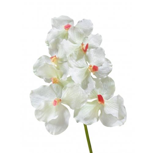 Орхидея Ванда искусственная белая с розовой-сердцевинкой 36 см (Real Touch)