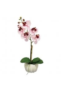 Орхидея искусственная ветка в керамическом кашпо 45 см