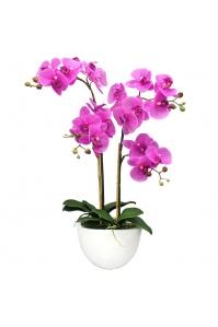 Орхидея Фаленопсис искусственная 2 ветки в керамическом кашпо 75 см