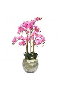 Орхидея Фаленопсис искусственная 5 веток в керамическом кашпо полусфера застаренное серебро 100 см