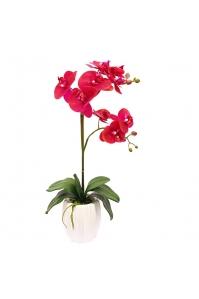 Орхидея Фаленопсис искусственная ветка двойная в керамическом кашпо 63 см