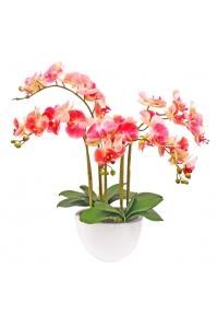 Орхидея Фаленопсис искусственная 5 веток в керамическом кашпо 65 см