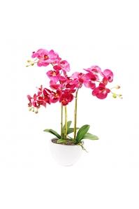 Орхидея Фаленопсис искусственная 3 ветки в керамическом кашпо 65 см