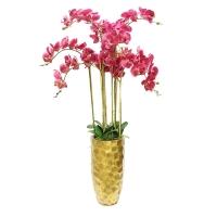 Орхидея Фаленопсис искусственная 9 веток в керамическом кашпо застаренное золото 120 см