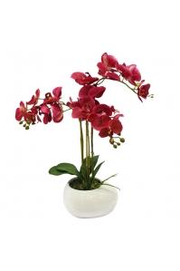 Орхидея Фаленопсис искусственная 3 ветки в керамическом кашпо 60 см