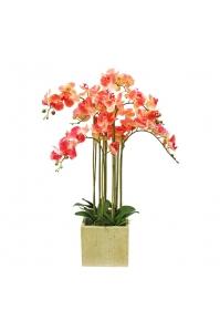 Орхидея Фаленопсис искусственная 7 веток в керамическом кашпо 100 см