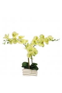 Орхидея Фаленопсис искусственная 3 ветки в керамическом кашпо сэндвич 50 см