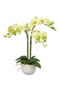 Орхидея Фаленопсис искусственная 2 ветки в керамическом кашпо 55 см