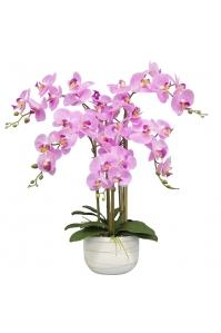 Орхидея Фаленопсис искусственная 5 веток в керамическом кашпо 70 см