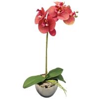 Орхидея Фаленопсис искусственная 1 ветка в керамическом кашпо 45 см