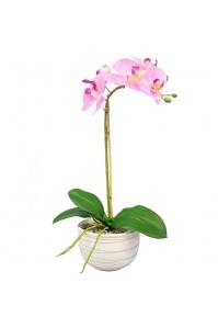Орхидея Фаленопсис искусственная 1 ветка в керамическом кашпо 50 см