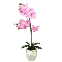 Орхидея Фаленопсис искусственная 1 ветка в керамическом кашпо айсберг 70 см