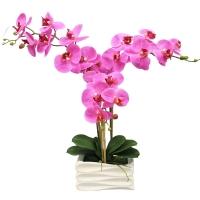 Орхидея Фаленопсис искусственная 3 ветки в керамическом кашпо 50 см