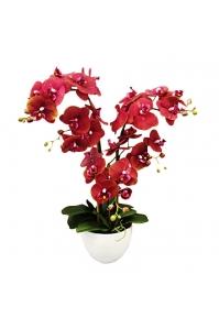 Орхидея Фаленопсис искусственная 3 ветки в керамическом кашпо 70 см