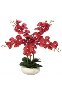 Орхидея Фаленопсис искусственная 5 веток в керамическом кашпо 50 см