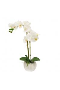 Орхидея Фаленопсис искусственная 1 ветка в керамическом кашпо 60 см
