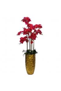 Орхидея Фаленопсис искусственная 5 веток в керамическом кашпо 130 см