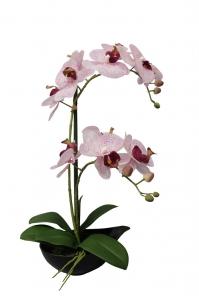 Орхидея Фаленопсис искусственная 2 ветки в керамическом кашпо 50 см
