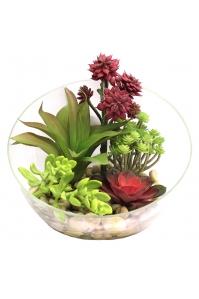 Композиция из Суккулентов Мини-садик искусственная в стеклянной вазе 25 см