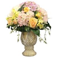 Композиция из Роз с Гортензиями искусственная в вазе 40 см