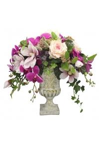 Композиция из Орхидей, Магнолии и Гортензий искусственная в вазе 60 см