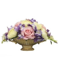 Композиция из Роз с Клематисом искусственная в вазе лодочка 30 см