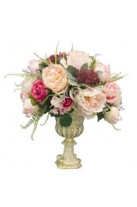 Композиция из Пионов и Роз искусственная в вазе 50 см