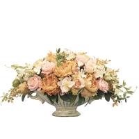 Композиция из Пионов, Роз с Гортензией искусственная в вазе лодочка 35 см