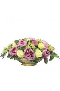 Композиция из Пионов и Роз искусственная в вазе ладья 30 см
