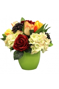 Композиция из Роз, Тюльпанов и Гортензий искусственная в керамическом кашпо 30 см
