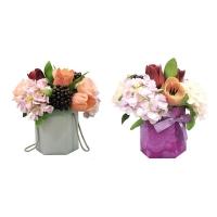 Композиция из Роз, Тюльпанов с Гортензией искусственная в шляпной коробке 32 см