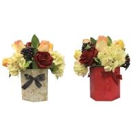 Композиция из Роз, Тюльпанов с Гортензией искусственная в шляпной коробке 33 см