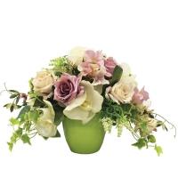 Композиция из Роз и Орхидеи искусственная в керамическом кашпо 30 см