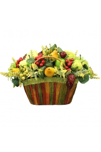 Композиция с Фруктами, Клубникой и Розами искусственная в корзине 25 см