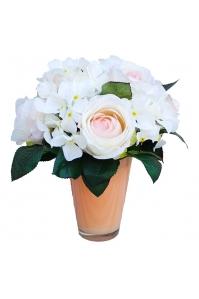 Композиция из Роз и Гортензий искусственная в вазе 40 см