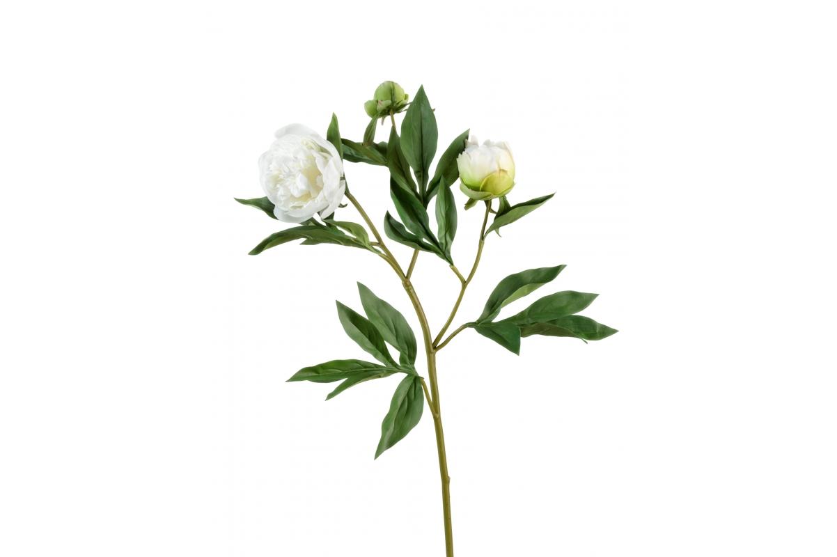 Пион искусственный белый ветвь 60 см