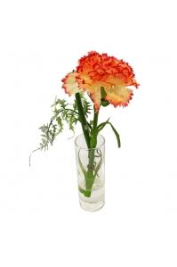 Композиция 1 Гвоздика искусственная в стеклянной вазе 22 см