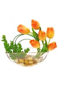 Композиция Тюльпаны и Красула искусственная в вазе 27 см