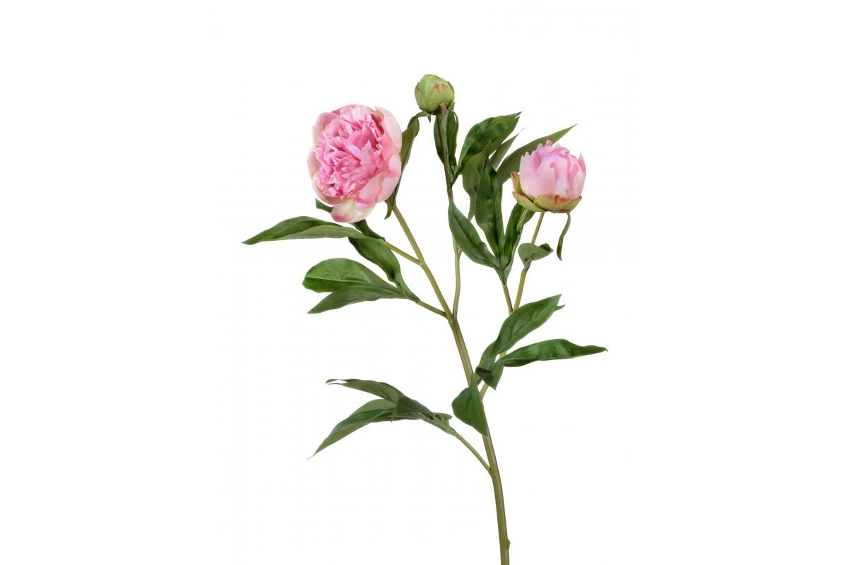 Пион искусственный розовый ветвь 60 см