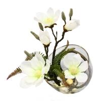 Композиции из Магнолии искусственная в стеклянной вазе 30 см