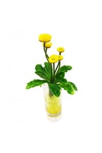 Композиция Маргаритки искусственные в стеклянной вазе 21 см