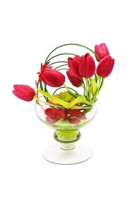 Композиция из Тюльпанов искусственная в стеклянной вазе 27 см