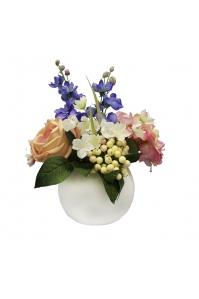 Композиция из Роз, Гортензий и Дельфиниума искусственная в вазе 30 см