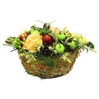 Композиция Фрукты и Ягоды искусственная в травяном кашпо 20 см