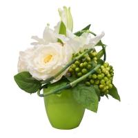 Композиция из Роз с Лилиями искусственная в керамическом кашпо 55 см