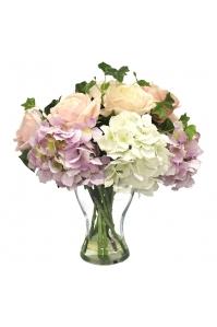 Композиция из Роз с Гортензией искусственная в стеклянной вазе 40 см