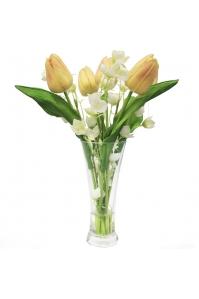Композиция из Тюльпанов искусственная в вазе с водой 35 см