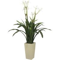 Куст с Белыми цветами искусственный в высоком кашпо 140 см