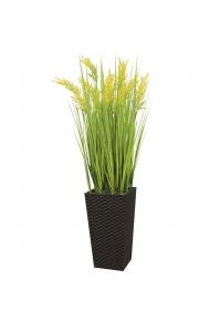 Трава с желтым соцветием искусственная в высоком кашпо 100 см