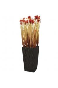 Трава с красным соцветием искусственная в высоком кашпо 105 см